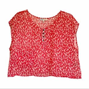 CECICO Pink Sheer Cropped Dot Blouse Top Small